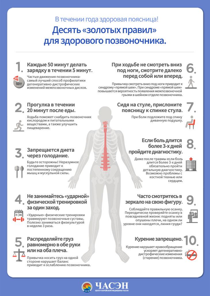 Десять «золотых правил» для здорового позвоночника - Центр корейской медицины Часэн