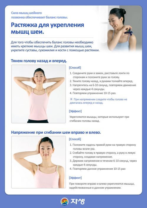 Растяжка для укрепления мышц шеи. - Центр корейской медицины Часэн